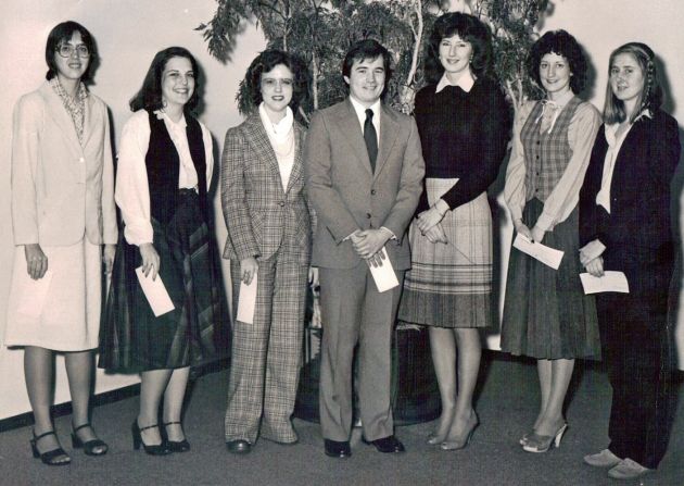 Scholarship Winners: Patricia Visnesky, third from left and Cynthia R. Baksys, far right. Can you identify others in the photo?