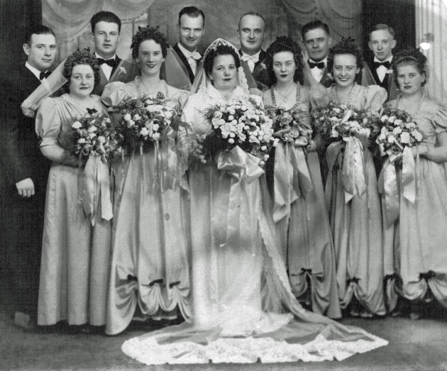 Wedding of Bernice Andruskevitch and Charles Roland Moser. William Joseph Shaudis, second man from left. 1940.