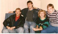 Fall 1988, Lawrence, KS, fr. left - Rimas Kurtinaitis, Sarunas Marciulionis, Vita Zemaitis, Donny Nelson.