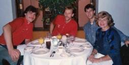 Fall 1988, Lawrence, KS, fr. left - Arvydas Sabonis, Rimas Kurtinaitis, Sarunas Marciulionis, Vita Zemaitis.
