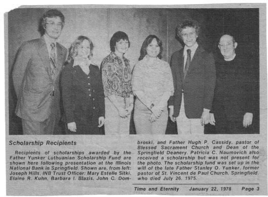 1978 Fr. Yunker Scholarship Winners
