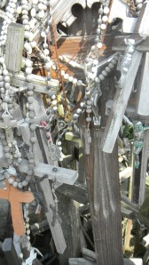 Agnes Tonila rosary, black & white, center, Hill of Crosses, Siauliai