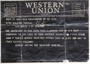 John Tonila death telegram
