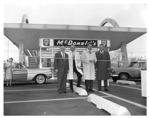John Mack, Sr. on far right at ribbon-cutting for his second McDonald's on S. MacArthur Blvd., 1961