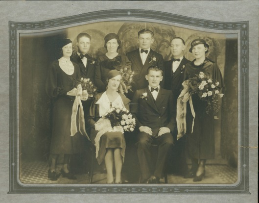 Michael Makarauskas wedding, circa 1930.  Brother John standing directly behind the seated groom.