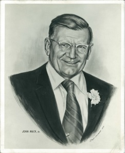 1975 artist's rendering of John Mack, Sr. photo placed inside his McDonald's restaurants in memoriam
