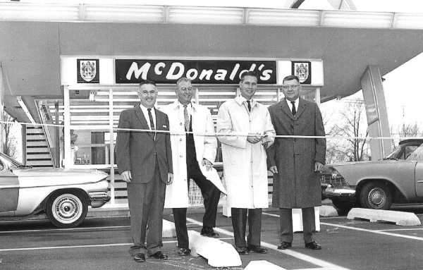 Grand Opening, McDonald's, 1825 S.MacArthur, 1961. John Mack, Sr., at far right.