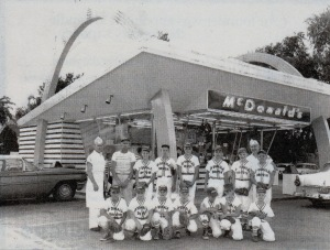 The McDonald's Drive-in Little League Team poses in front of the chain's first franchise in Springfield on South Sixth Street in 1961.  Source: Illinois State Journal, April 27, 1999.