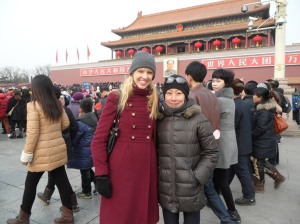 Lindsay and her friend Eri outside the Forbidden City, Beijing