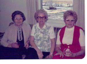 L to r:  Nancy Pazemetsky, friend Bernice Kurila, Ann Pazemetsky Traeger, circa 1985.