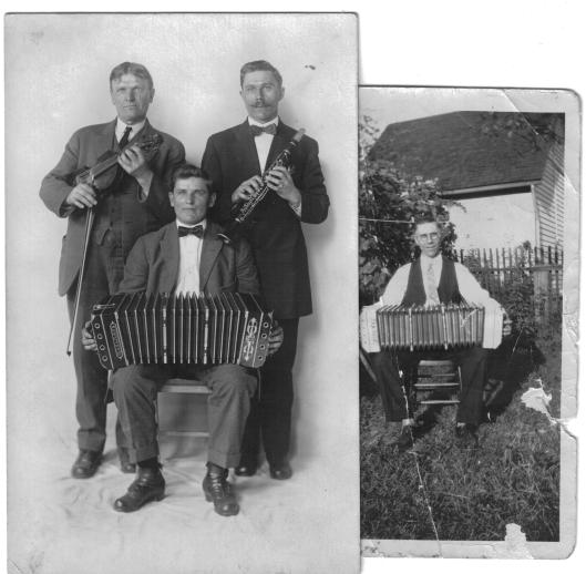 Left photo: Wedding musicians Adam Pazemetsky with clarinet, Mr. Karalitis with fiddle, and Mr. Petrovitch seated, with concertina.  Right photo: Pazemetsky with concertina.