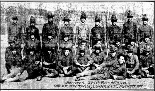 Pvt. Rauktis is in the back row, right edge, in this photo from the  Illinois State Journal-Register.