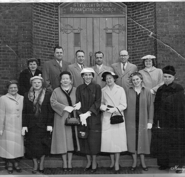Front row, left to right:  Julia Lukitis, Catherine Cooper, Bertha Adams, Julia Wisnosky, Mrs. (Adele) John K. Arnish, Anne Foster (long-time organist and choir director),  the Rev. S.O. Yunker, long-time pastor.  Back row: Della Swaja, Peter Urbanckas, Alfred Urbanckas, Joe Turasky, Sr., Augie Wisnosky, Ann (Tisckos) Wisnosky