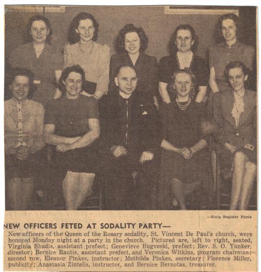 St. Vincent de Paul Church sodality officers, circa 1940.
