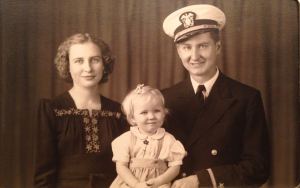 The beautiful Della Tisckos, my mother's best friend, with husband Charlie and daughter Nancy, circa 1942.