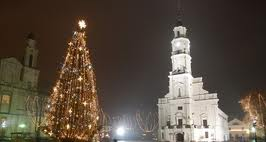Kaunas town hall square with Christmas tree