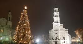 Kaunas town hall square with Christmas tree