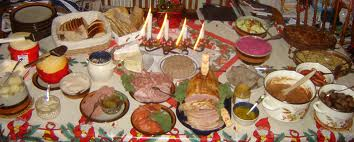 Lithuanian Kucios table with traditional dishes