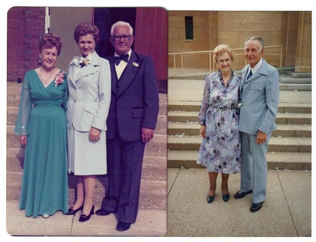Left photo: from left, Mrs. Paulionis, Ann Urbanckas, Augie Paulionis. Right photo: Ann & Alfred Urbanckas.