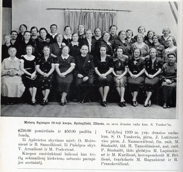 1930s or '40s photo of the SVDP chapter of the Alliance of Lithuanian Roman Catholic Women from a yearbook written entirely in Lithuanian.