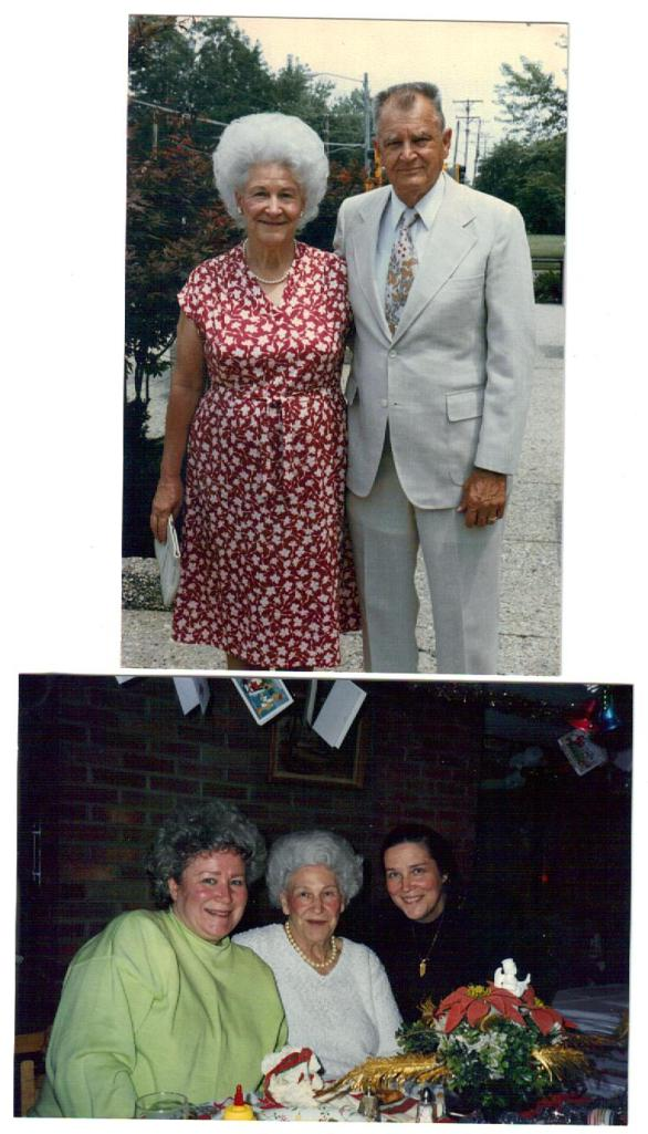Top photo: Peter and Mary (Chernis) Urbanckas. Bottom photo: Mary Urbanckas with daughters (l) Pat Mathews and Donna Frost.