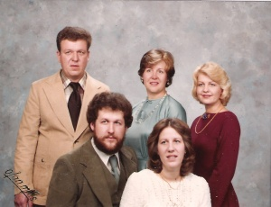 Back row, l to r:  Joe, Jr., Mary Patricia. Front row: John and Bernadine.