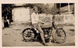 Joe, Sr., 18, on his Indian motorcycle, August 1928.