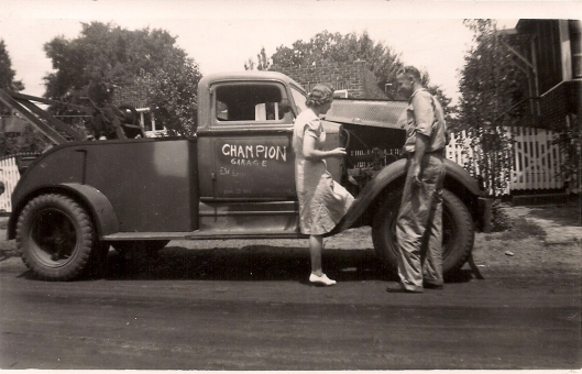 Mary Ann and Bill Chepulis with tow truck