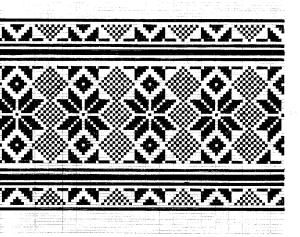 Lithuanian linen design hand-inked by Paul Endzelis on tiny gridded paper