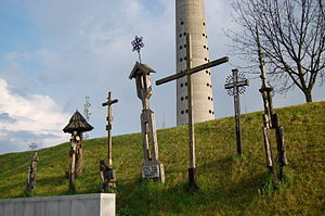 some of the crosses for the 14 dead at the Vilnius TV Tower massacre