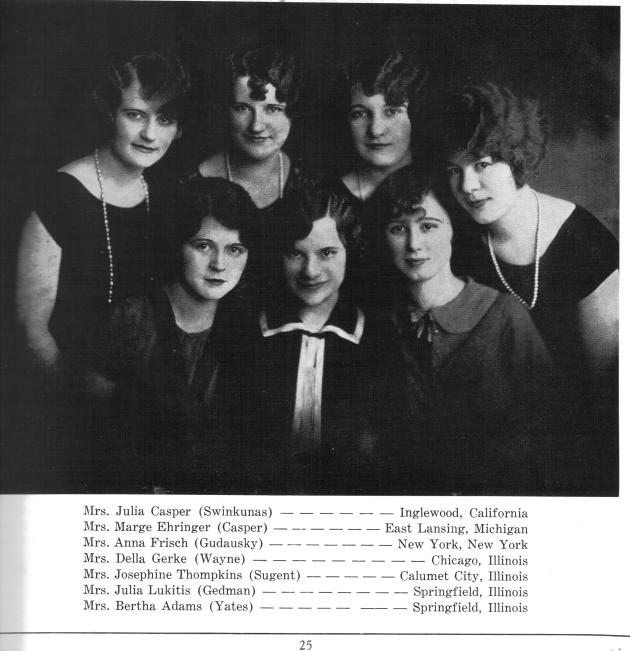 Photo of a group of church friends from the 1930s, published as an advertisement in the 1956 parish Golden Jubilee book.