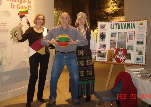 Irena, her friend Tom (taking up a basketball stance), Sandy with storyboard made by Mary Chepulis