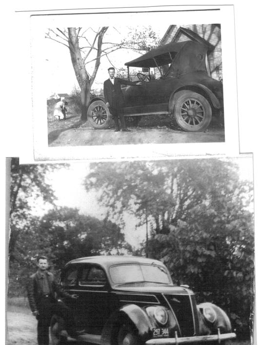 Top:  John Joseph with Model T on his wedding day in Riverton, 1925.  Bottom:  In leather jacket with 1940s vehicle