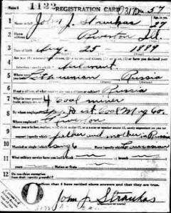 John Joseph Straukas draft registration, page 1 (1917, not 1914).