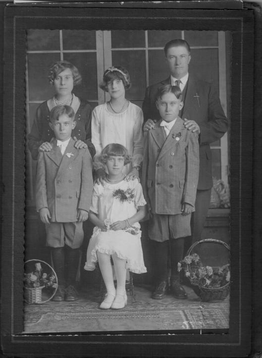 Back row, l to r: Antonia and Bernie Yanor, owners of Bernie's tavern, with daughter Josephine (Stankavich).  Front row, l to r: Yanor children  Joe, Anna (Carver), and Bernie, Jr. 1920s.