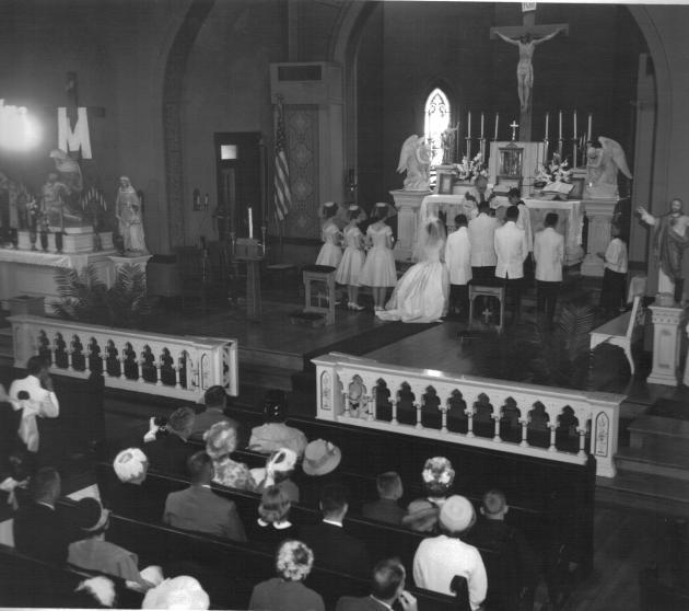 Carver-Madison wedding, interior of St. Vincent de Paul Church