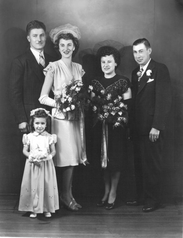 Joe and Monty (Monica) Yanor wedding, late 1940s, with Bill and Josephine (Yanor) Stankavich and flower girl Georgann (Yanor) Carver