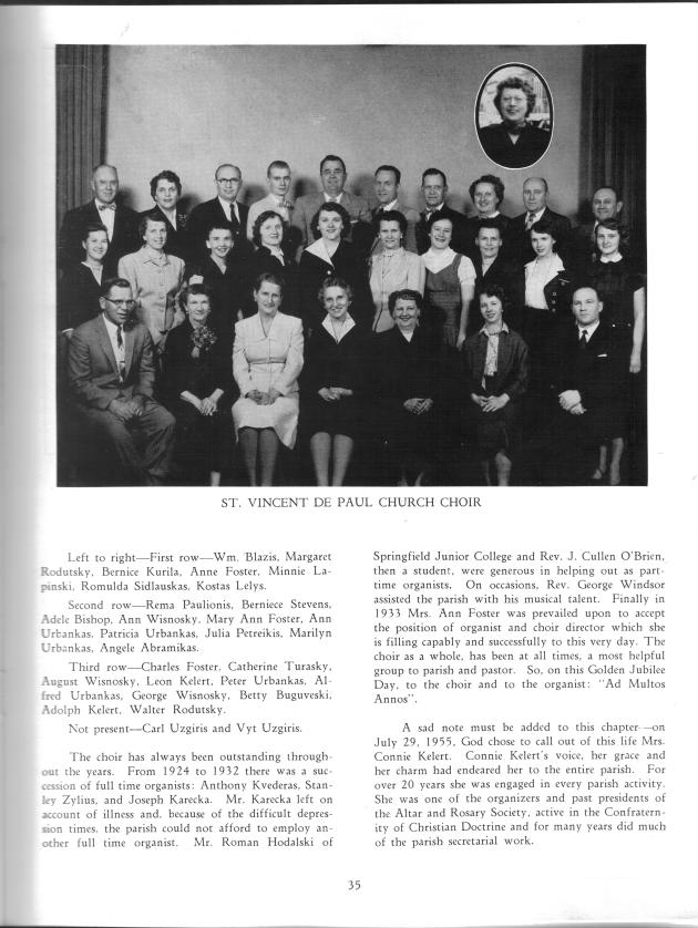 The church choir with names, from 1956 Jubilee book