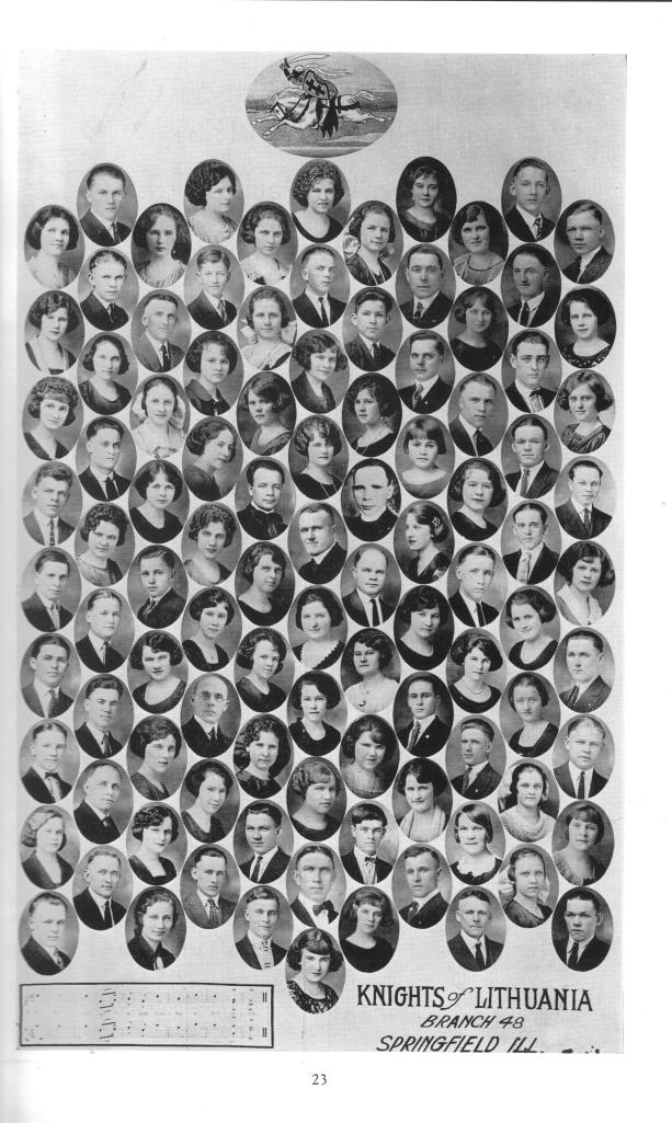 "Faces of the St. Vincent de Paul ""Knights of Lithuania"" chapter, circa 1924, from the 1956 parish Jubilee book."