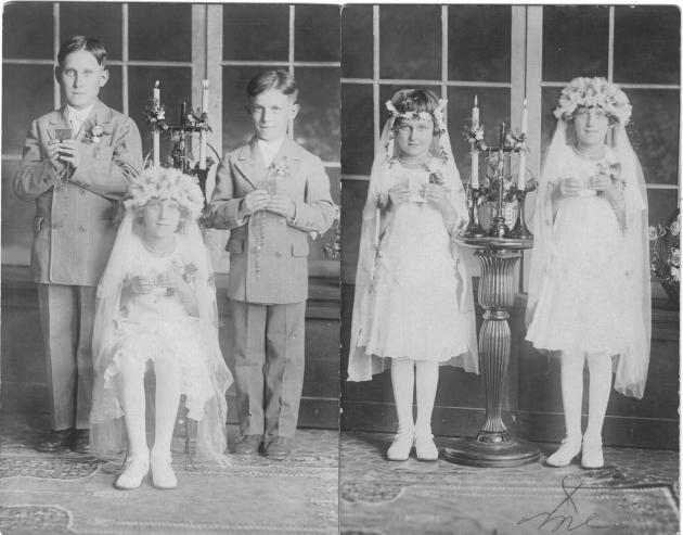 left photo: Bernie, Anna, and Joe Yanor, First Holy Communion, St. Vincent dePaul's, circa 1920.  Right photo: Eva Thomas and Anna Yanor.