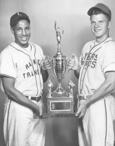 l to r: Gordon White and Dick Alane holding the trophy for the Colt League World Series, 1958.