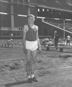 Al Urbanckas in high jump competition, 1950s.