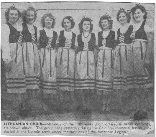 St. Vincent de Paul Church choir in performance dress, undated State Journal Register photo, circa 1940. Ann (Tisckos) Wisnoski center, with necklace.