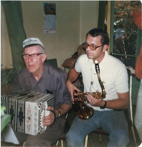 John Galman, Jr. on concertina and son-in-law Jerry Black on tenor sax, 1979.