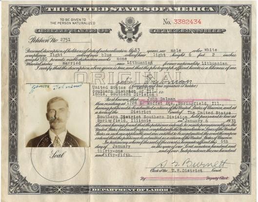 Jonas Galminas (John Galman, Sr.) Certificate of U.S. Citizenship, 1931.