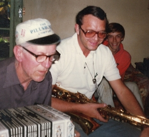Grandpa John (in his Pillsbury hat) on concertina, with his son-in-law Jerry on tenor sax and grandson David Black, 1979.