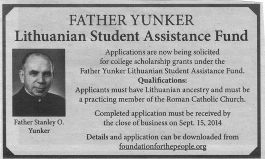 After an absence of several years, the Fr. Yunker College Scholarship  was just advertised in the July 27 edition of the Catholic Times.