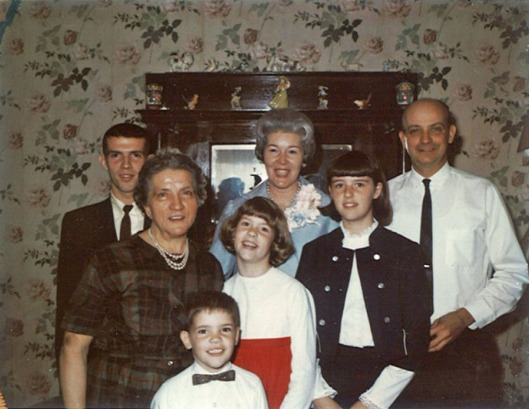 Front little guy:  Stephen Bernotas. Middle row, from left: Anna (Nano) Bernotas, Denise Bernotas Fox, Susan Bernotas Potter. Back row, from left:  Terry Bernotas, Dorothy Hall Bernotas, Anthony Peter Bernotas. Easter Sunday, April 10, 1966.