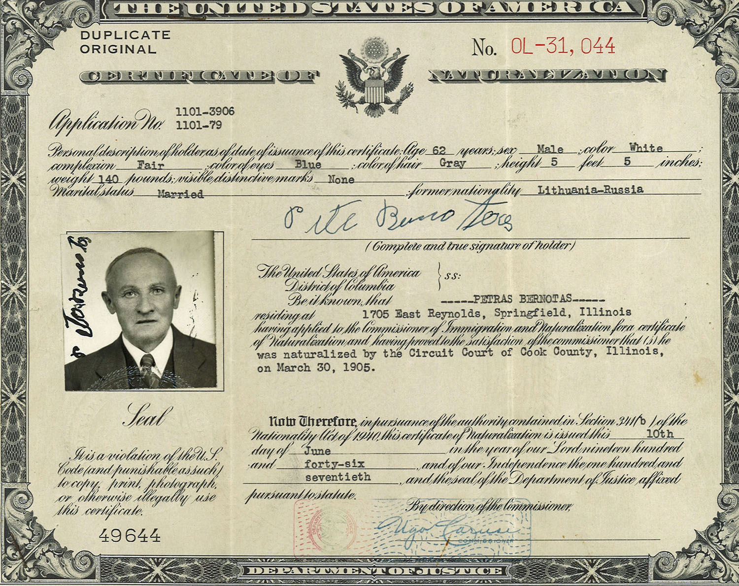 The bernotas family in photos lithuanians in springfield illinois photo of peter bernotas at age 68 in 1946 1betcityfo Choice Image
