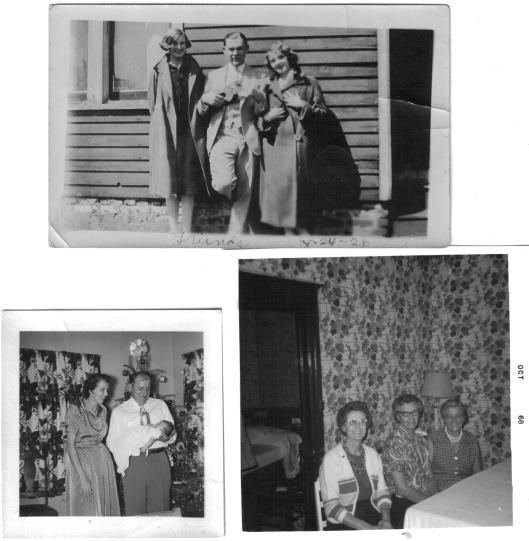 Bottom left: Bernice Stephens and Tony Tamoszaitis as godparents to newborn Susan Bernotas, early 1950s.  Bottom right, from left: Klimaitis sisters Adella, Mary, and Anna, 1968.